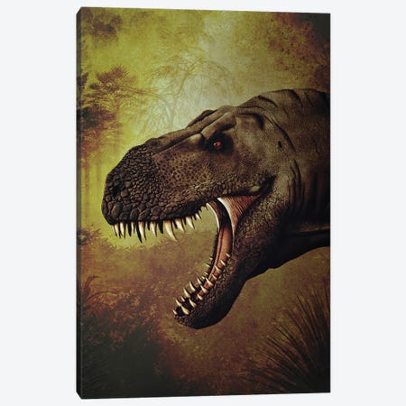 T-rex portrait. 3-Piece Canvas #TRK2839} by Aram Papazyan Canvas Art Print