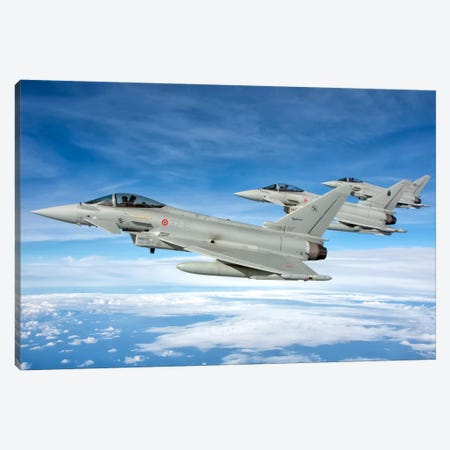 Italian Air Force F-2000 Typhoon Aircraft Fly In Formation Canvas Print #TRK283} by Giovanni Colla Canvas Art Print