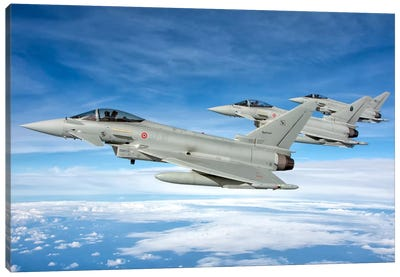 Italian Air Force F-2000 Typhoon Aircraft Fly In Formation Canvas Art Print