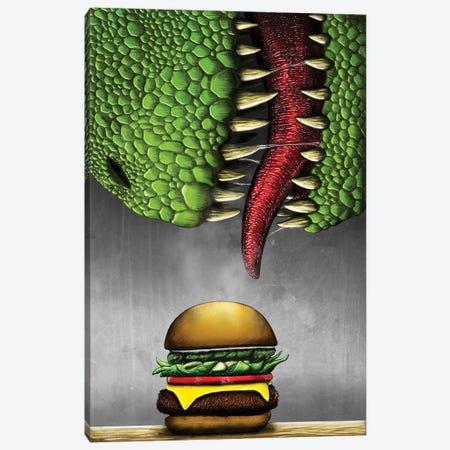 T-rex with cheeseburger. Canvas Print #TRK2840} by Aram Papazyan Canvas Wall Art