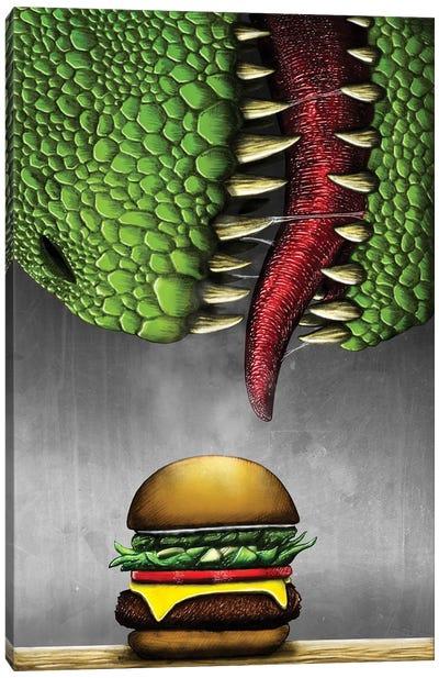 T-rex with cheeseburger. Canvas Art Print