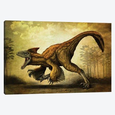 Utahraptor, a large dromaeosaur dinosaur from the Cretaceous Period. 3-Piece Canvas #TRK2842} by Aram Papazyan Canvas Artwork