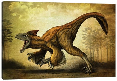 Utahraptor, a large dromaeosaur dinosaur from the Cretaceous Period. Canvas Art Print