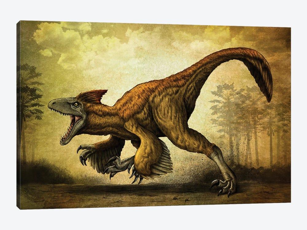 Utahraptor, a large dromaeosaur dinosaur from the Cretaceous Period. by Aram Papazyan 1-piece Canvas Art