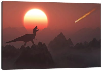 A giant asteroid hitting the Earth during the Cretaceous-Paleogene Extinction Event. Canvas Art Print