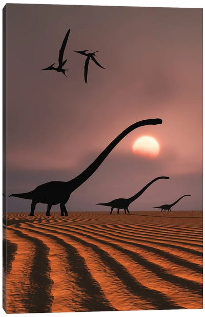 A herd of Omeisaurus dinosaurs silhouetted against a Jurassic sky. Canvas Art Print