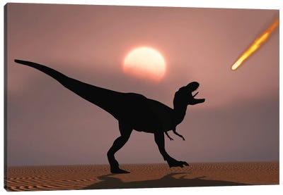 A lone T-rex watches a falling asteroid that will bring about the extinction of all dinosaurs. Canvas Art Print