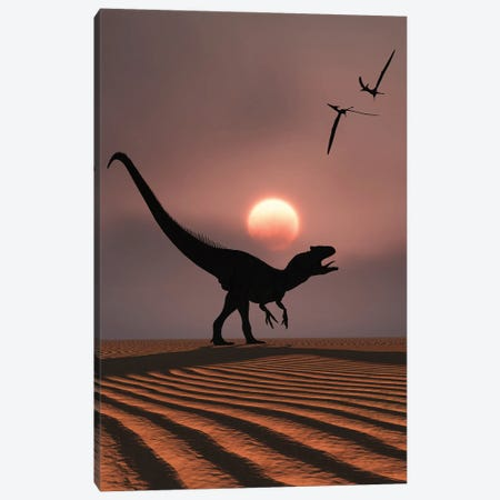 An Allosaurus dinosaur calling out against a Jurassic sky. Canvas Print #TRK2849} by Mark Stevenson Canvas Wall Art