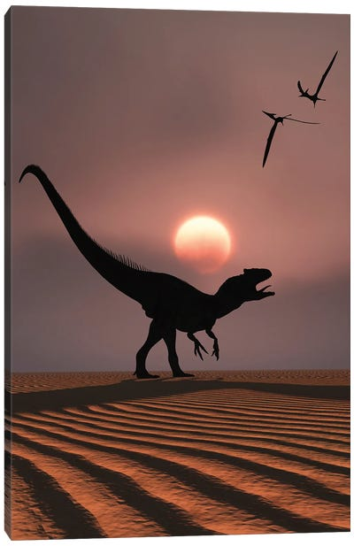 An Allosaurus dinosaur calling out against a Jurassic sky. Canvas Art Print
