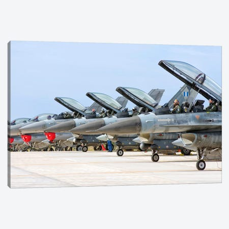 Line-Up Of Hellenic Air Force F-16 Aircraft Canvas Print #TRK284} by Giovanni Colla Canvas Art