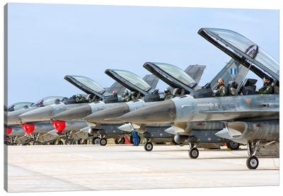 Line-Up Of Hellenic Air Force F-16 Aircraft Canvas Art Print