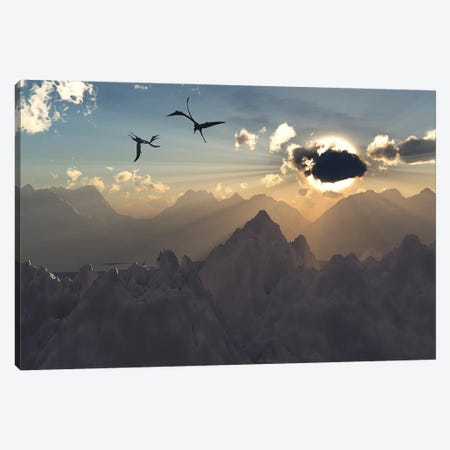 Quetzalcoatlus flying high in Cretaceous skies. Canvas Print #TRK2850} by Mark Stevenson Canvas Print