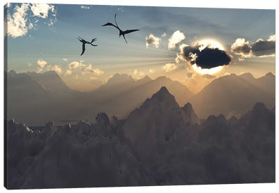Quetzalcoatlus flying high in Cretaceous skies. Canvas Art Print