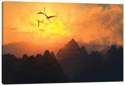 Quetzalcoatlus flying high in Cretaceous skies. Canvas Art Print