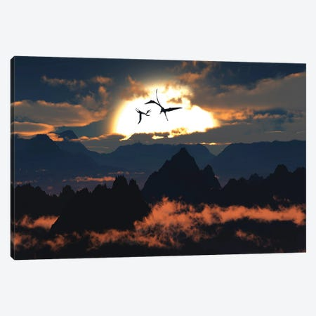 Quetzalcoatlus flying high in Cretaceous skies. Canvas Print #TRK2853} by Mark Stevenson Canvas Art Print