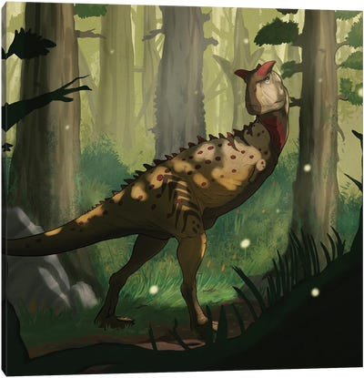 A Carnotaurus dinosaur in a forest. Canvas Art Print