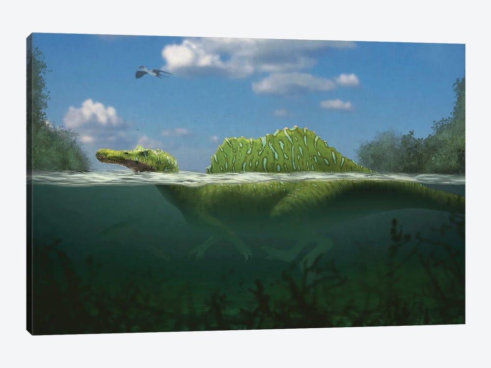Spinosaurus swimming in a river. by Paulo Leite da Silva 1-piece Canvas Art
