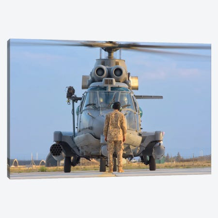 Royal Saudi Air Force AS532 Cougar CSAR Helicopter Canvas Print #TRK285} by Giovanni Colla Canvas Wall Art