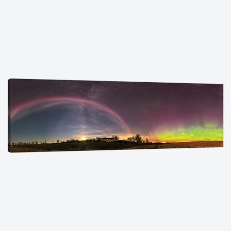 360 Degree Panorama Of A Colorful Auroral Arc Over The Canadian Countryside. Canvas Print #TRK2862} by Alan Dyer Canvas Artwork