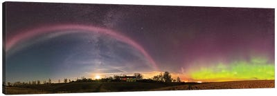360 Degree Panorama Of A Colorful Auroral Arc Over The Canadian Countryside. Canvas Art Print