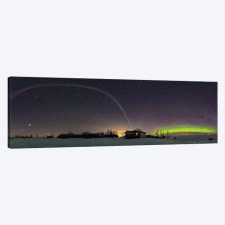360 Degree Panorama Of An Aurora And The Unusual Steve Arc In Alberta, Canada. Canvas Print #TRK2863} by Alan Dyer Canvas Wall Art
