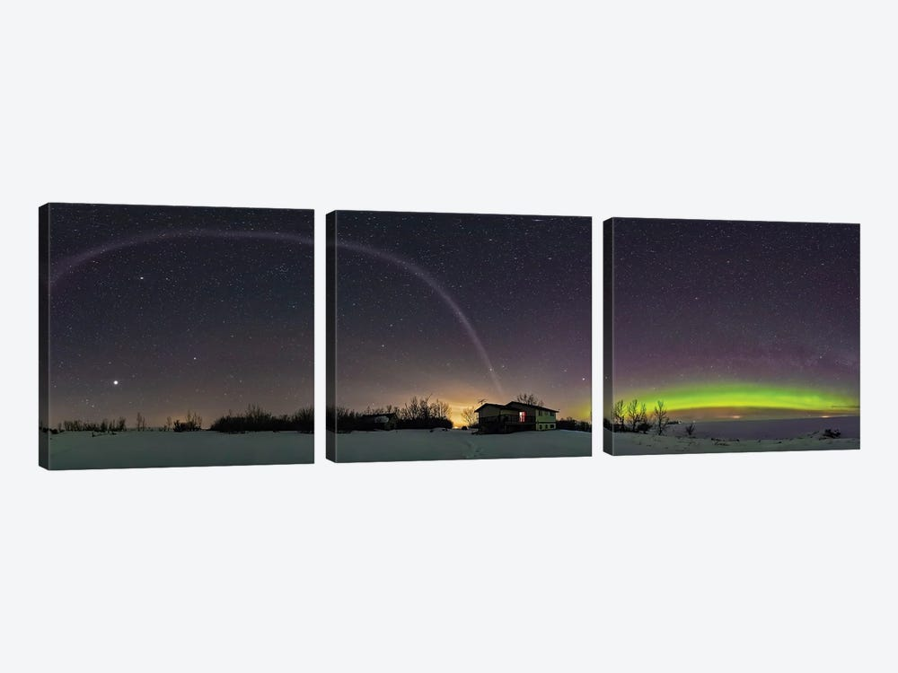 360 Degree Panorama Of An Aurora And The Unusual Steve Arc In Alberta, Canada. by Alan Dyer 3-piece Art Print