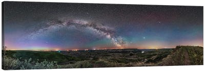360 Degree Panorama Of The Arch Of The Milky Way Over The Red Deer River Valley, Canada. Canvas Art Print