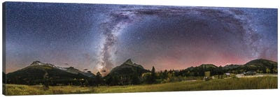 360 Degree Panorama Of The Milky Way At Red Rock Canyon In Canada. Canvas Art Print