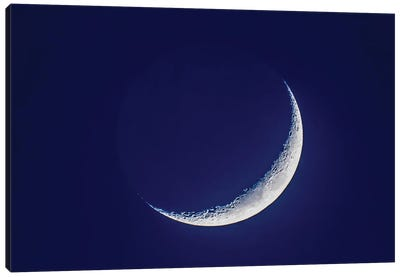 4-Day Old Waxing Crescent Moon In Blue Twilight. Canvas Art Print