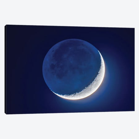 4-Day Old Waxing Crescent Moon With Earthshine. Canvas Print #TRK2867} by Alan Dyer Canvas Print