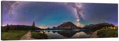 A 360 Degree Panorama Of Bow Lake In Banff National Park, Alberta, Canada. Canvas Art Print
