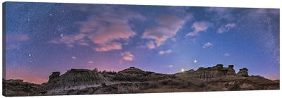 A 360 Degree Panorama Of The Evening Twilight Sky In Alberta, Canada. Canvas Art Print