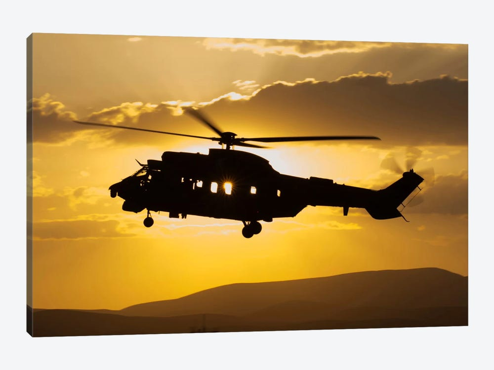 Turkish Air Force AS532 Cougar CSAR Helicopter Flying Over Turkey by Giovanni Colla 1-piece Canvas Art