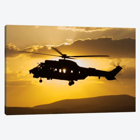 Turkish Air Force AS532 Cougar CSAR Helicopter Flying Over Turkey Canvas Print #TRK286} by Giovanni Colla Canvas Artwork
