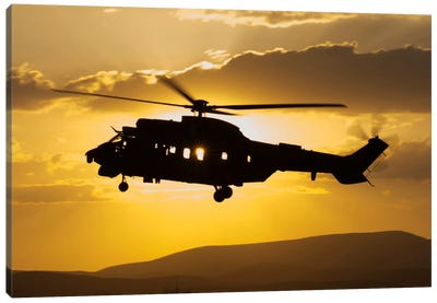 Turkish Air Force AS532 Cougar CSAR Helicopter Flying Over Turkey Canvas Art Print