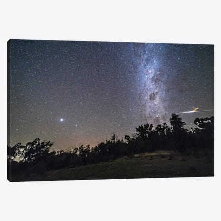 A Bright Bolide Meteor And Smoke Trail On A Clear Australian Night. Canvas Print #TRK2873} by Alan Dyer Canvas Art Print