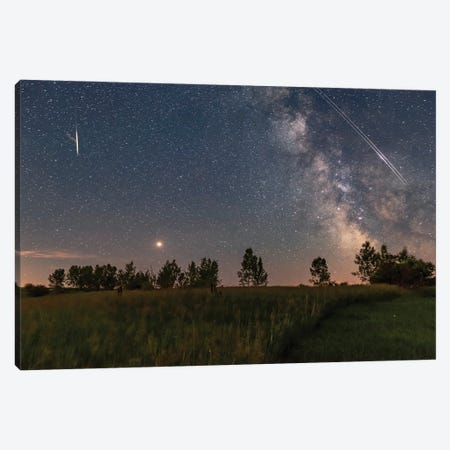 A Bright Mars Rising To The East Of The Milky Way With A Pair Of Iridium Satellite Flares, Alberta, Canada. Canvas Print #TRK2875} by Alan Dyer Canvas Art