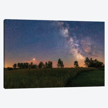 A Bright Mars Shines To The East Of The Summer Milky Way, Alberta, Canada. Canvas Print #TRK2876} by Alan Dyer Canvas Wall Art
