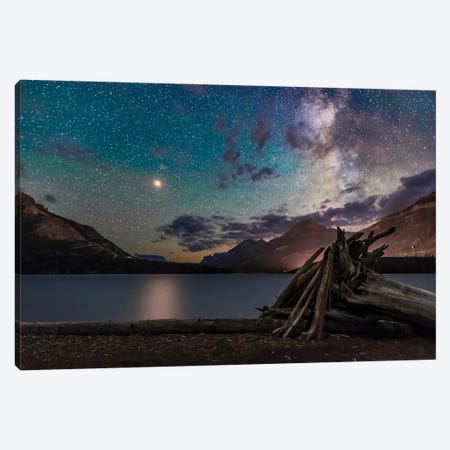 A Bright Yellow Mars And The Milky Way Shining Above Middle Waterton Lake, Canada. Canvas Print #TRK2878} by Alan Dyer Canvas Print