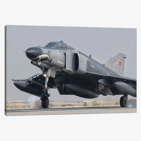 Turkish Air Force F-4 Phantom Landing At Konya Air Base Canvas Print #TRK287} by Giovanni Colla Canvas Art