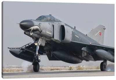Turkish Air Force F-4 Phantom Landing At Konya Air Base Canvas Art Print