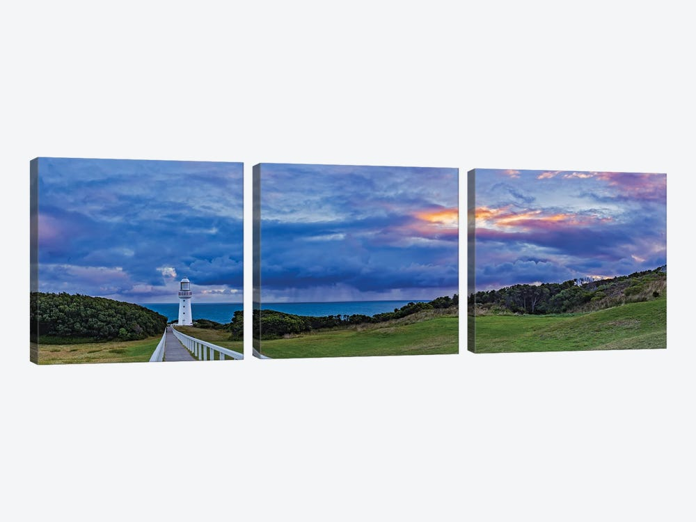 A Cloudy Sunset At Cape Otway Lighthouse On The Great Ocean Road, Victoria, Australia by Alan Dyer 3-piece Canvas Wall Art