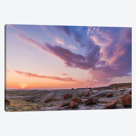 A Colorful Sunset At The Red Rock Coulee Natural Area In Southeast Alberta, Canada. Canvas Print #TRK2883} by Alan Dyer Canvas Artwork