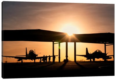 Two Embraer A-29 Super Tucano Aircraft Parked In The Hangar At Natal Air Force Base, Brazil Canvas Art Print