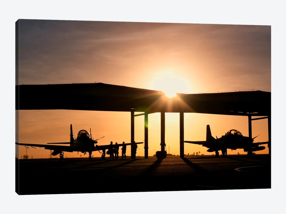 Two Embraer A-29 Super Tucano Aircraft Parked In The Hangar At Natal Air Force Base, Brazil by Giovanni Colla 1-piece Canvas Artwork