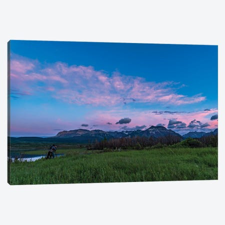 A Photographer In The Evening Twilight At Waterton Lakes National Park, Canada. Canvas Print #TRK2899} by Alan Dyer Canvas Print
