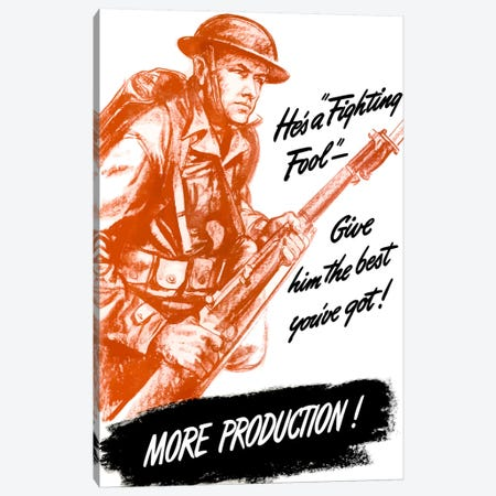 More Production! Vintage Wartime Poster Canvas Print #TRK28} by John Parrot Canvas Wall Art