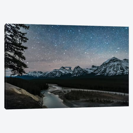 A Starry Sky Over The Athabasca River And Continental Divide, Alberta, Canada. Canvas Print #TRK2903} by Alan Dyer Canvas Art Print