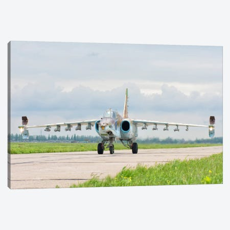 Ukrainian Air Force Su-25 Taxiing At Mykolaiv Air Base Canvas Print #TRK290} by Giovanni Colla Canvas Art