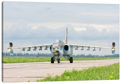 Ukrainian Air Force Su-25 Taxiing At Mykolaiv Air Base Canvas Art Print